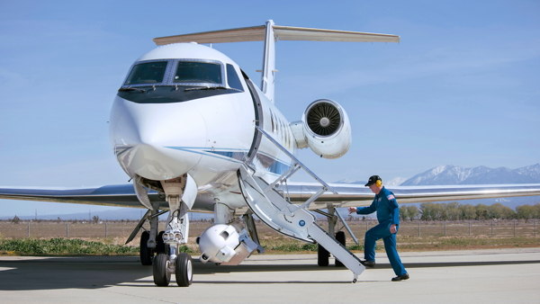 NASA's Gulfstream-III aircraft on the tarmac at Armstrong Flight Research Center with the GLISTIN-A radar instrument installed, taken on March 15, 2016.